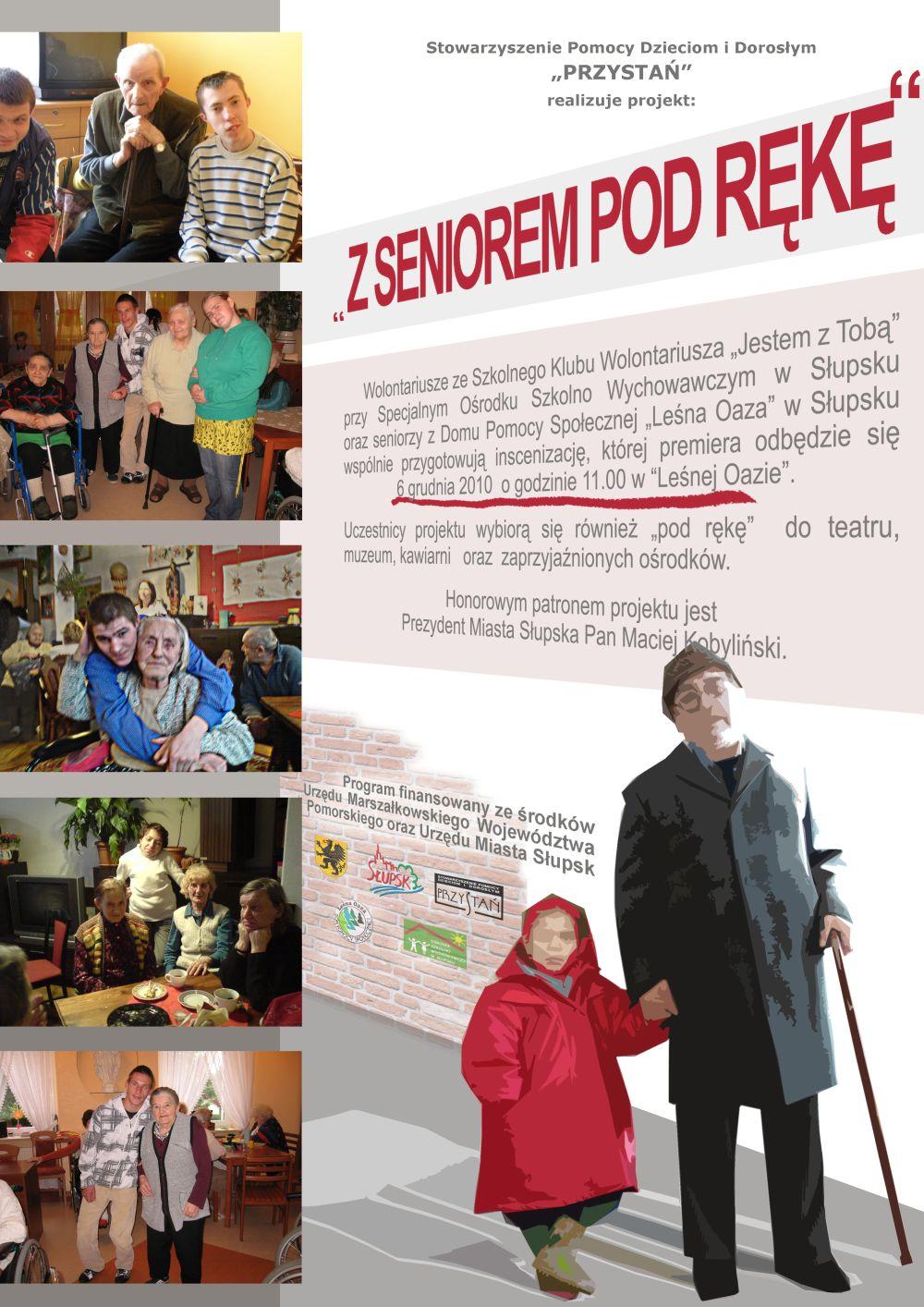 plakat z seniorem pod rękę